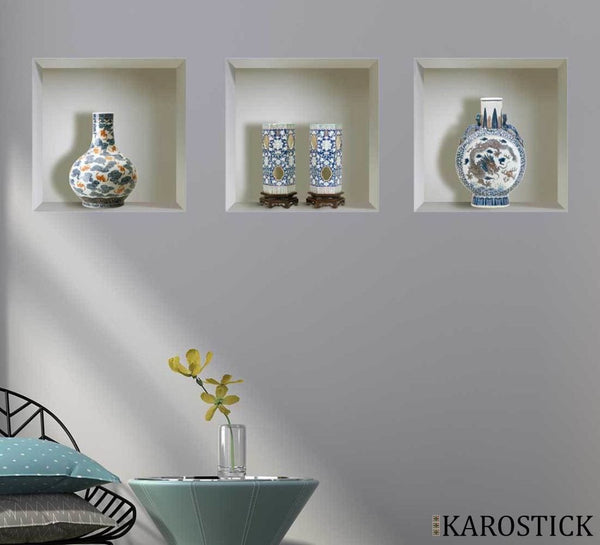 Sticker Effet 3D - Vases Chinois