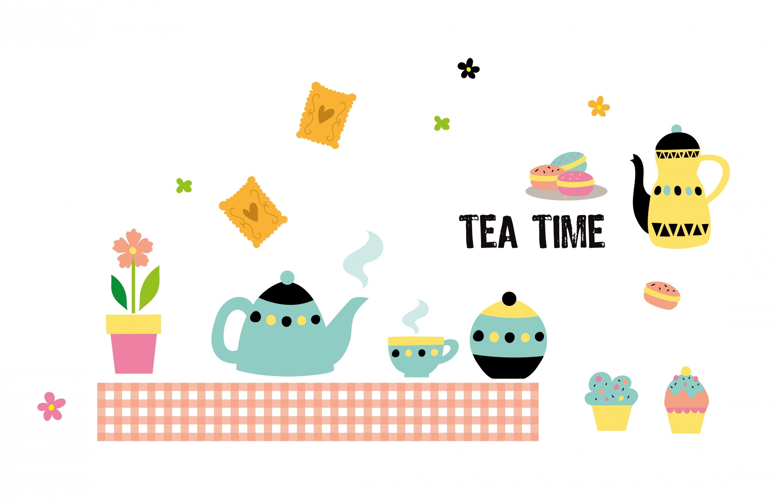 Sticker Tea Time - 100x100 cm