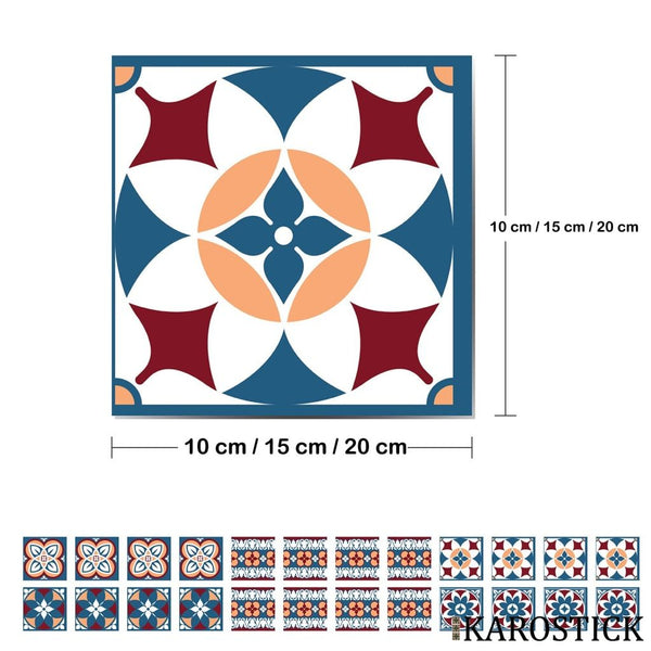 Stickers Carrelages - Carreaux Ciment Alliance Rouge Et Bleu