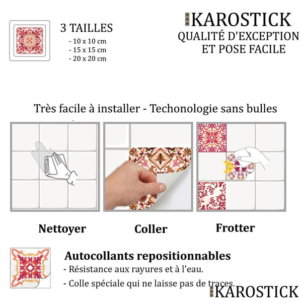 Stickers Carrelages - Carreaux Ciment Camaïeu De Rouge