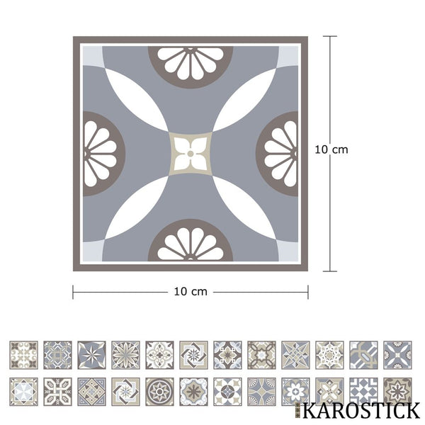 Stickers Carrelages - Carreaux Ciment Charme Hispanique 10X10 Cm 24 Pièces