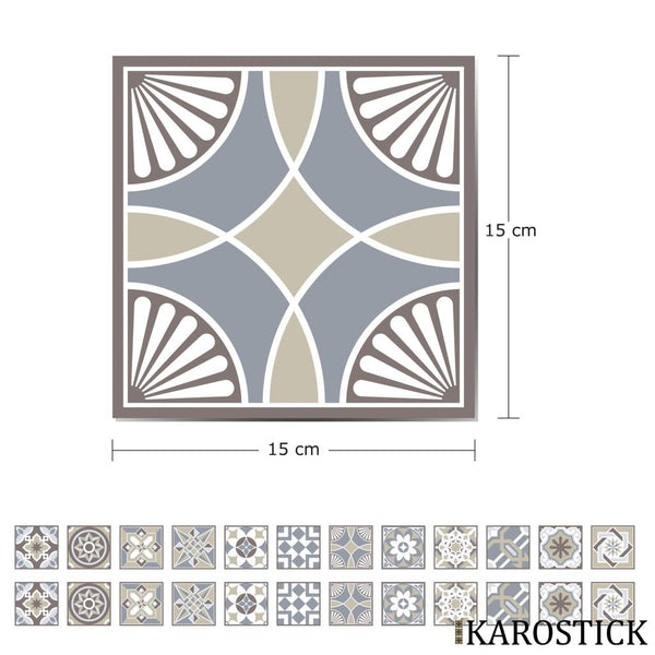 Stickers Carrelages - Carreaux Ciment Charme Hispanique 15X15 Cm 24 Pièces