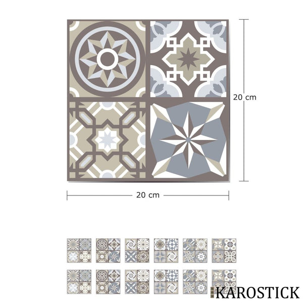 Stickers Carrelages - Carreaux Ciment Charme Hispanique 20X20 Cm 12 Pièces
