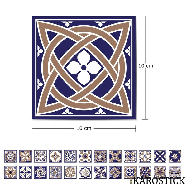 Stickers Carrelages - Carreaux Ciment Eloquence Royale 10X10 Cm 24 Pièces