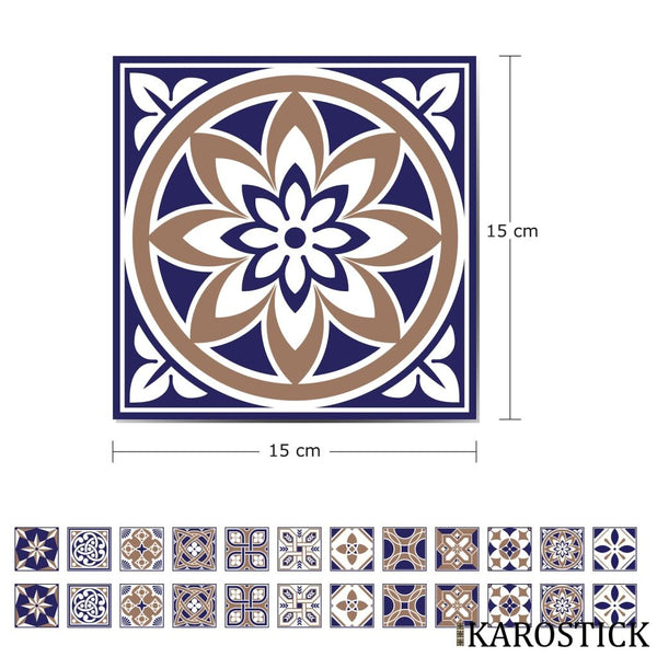Stickers Carrelages - Carreaux Ciment Eloquence Royale 15X15 Cm 24 Pièces