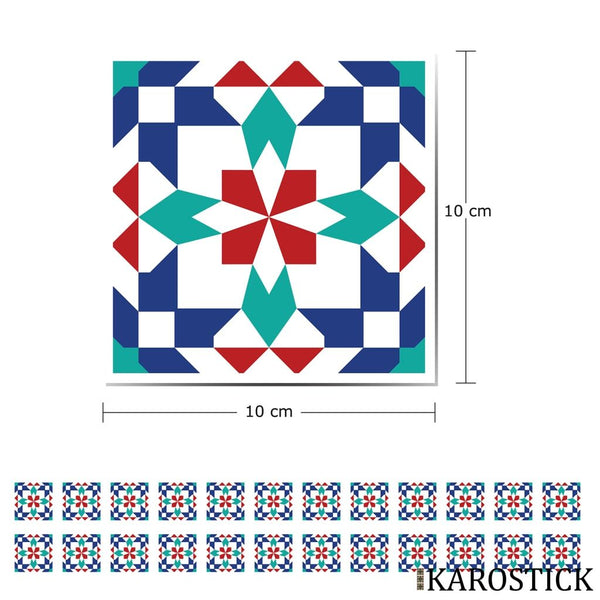 Stickers Carrelages - Carreaux Ciment Passion Marrakech 10X10 Cm 24 Pièces