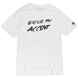 Excuse My Accent Brush Logo Tee (White)