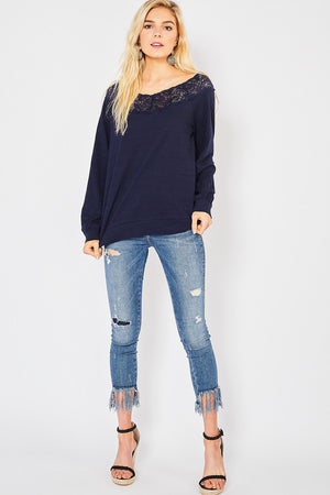 Long Sleeve Top with Lace Boat Neck