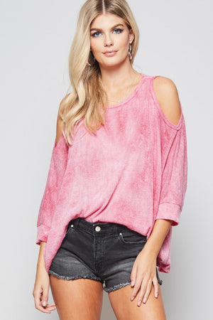 Cold-Shoulder Top with 3/4 Sleeves - Plus
