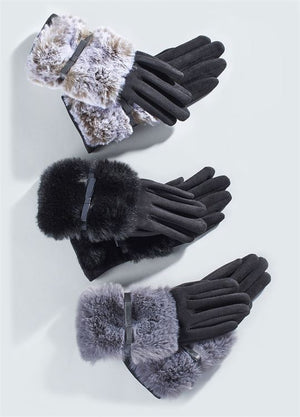 Faux Fur Patch Touchscreen Gloves