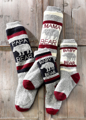Papa Bear Family Reading Socks