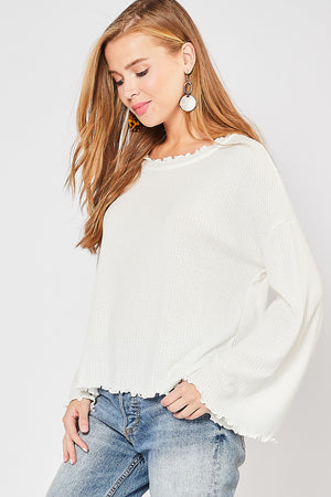 Waffle-Knit Top with Bell Sleeve