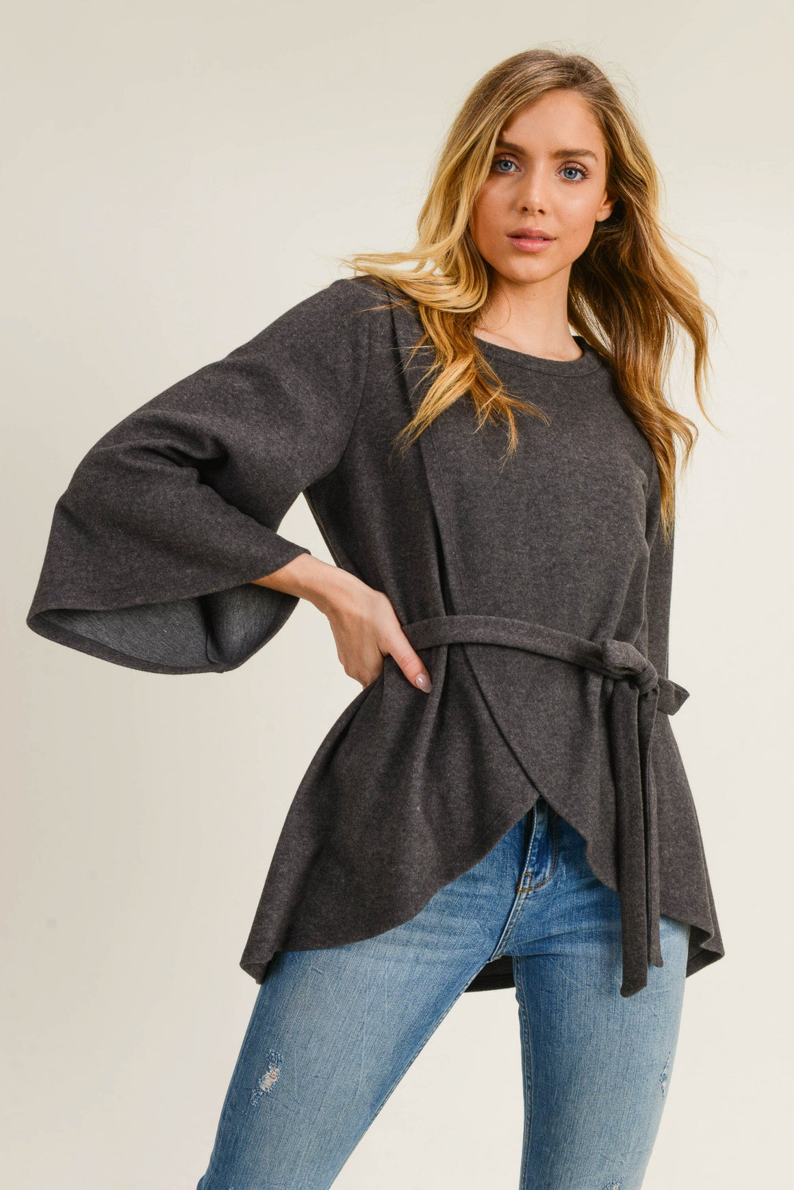 3/4 Bell Sleeve Wrap Front Sweater w/Tie Belt