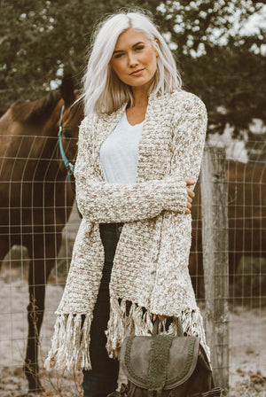 Heathered Cardigan - White Plus