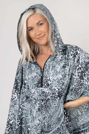 Printed Rain Poncho with Pouch