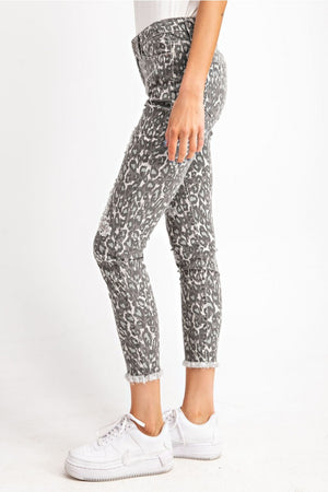 Animal Printed Distressed Ankle Stretch Pant - Grey
