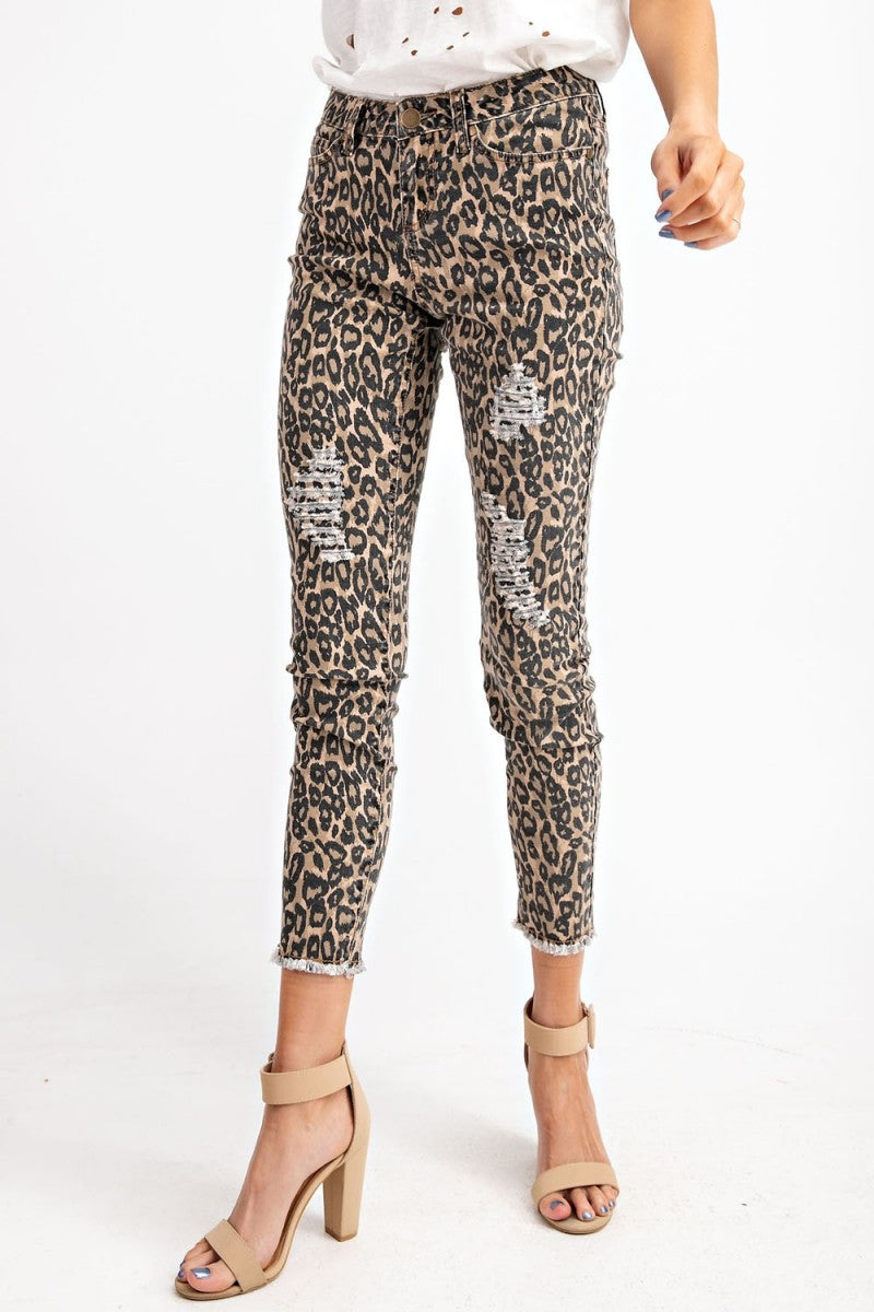 Animal Printed Distressed Ankle Stretch Pant - Brown