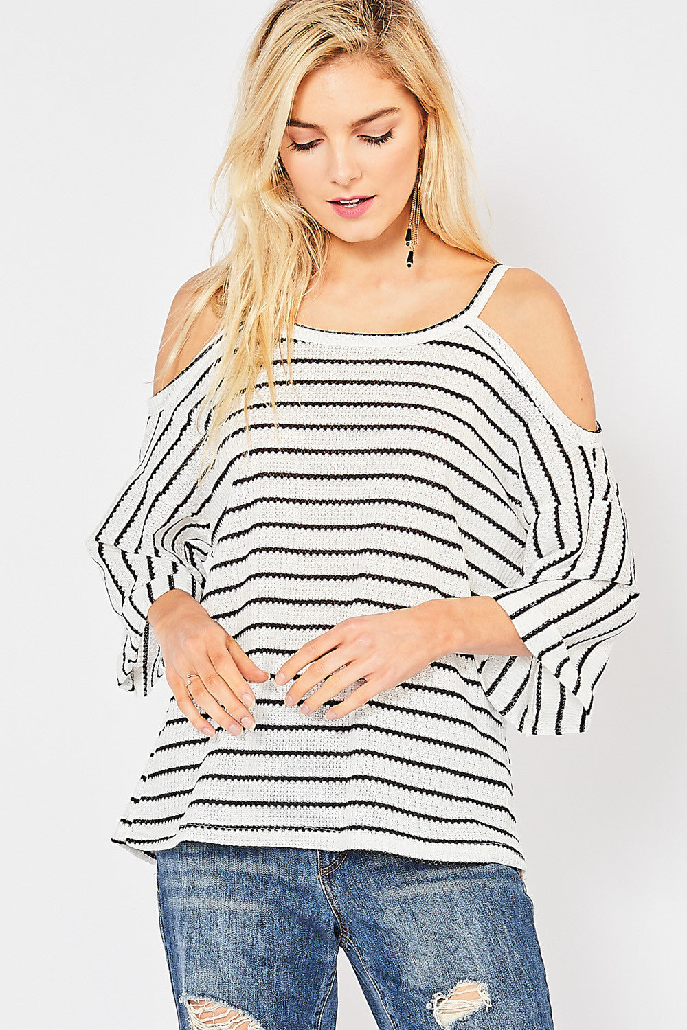 Cold-Shoulder Top with 3/4 Rolled Sleeves