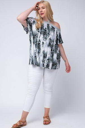 Cold Shoulder Tie-Dye Knit Top - Plus