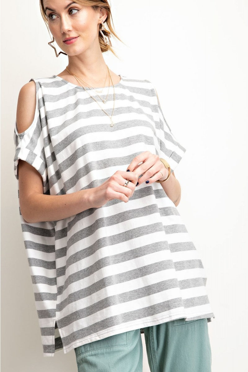 STRIPE COLD SHOULDER KNIT TUNIC TOP