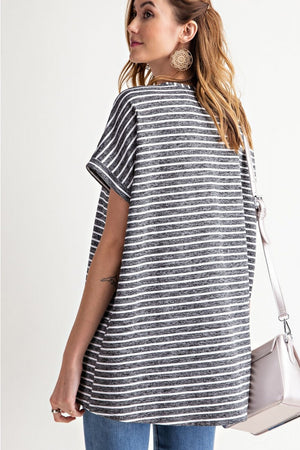 LACE UP FRONT STRIPE TEE