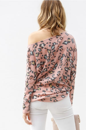 Open Shoulder Leopard Top