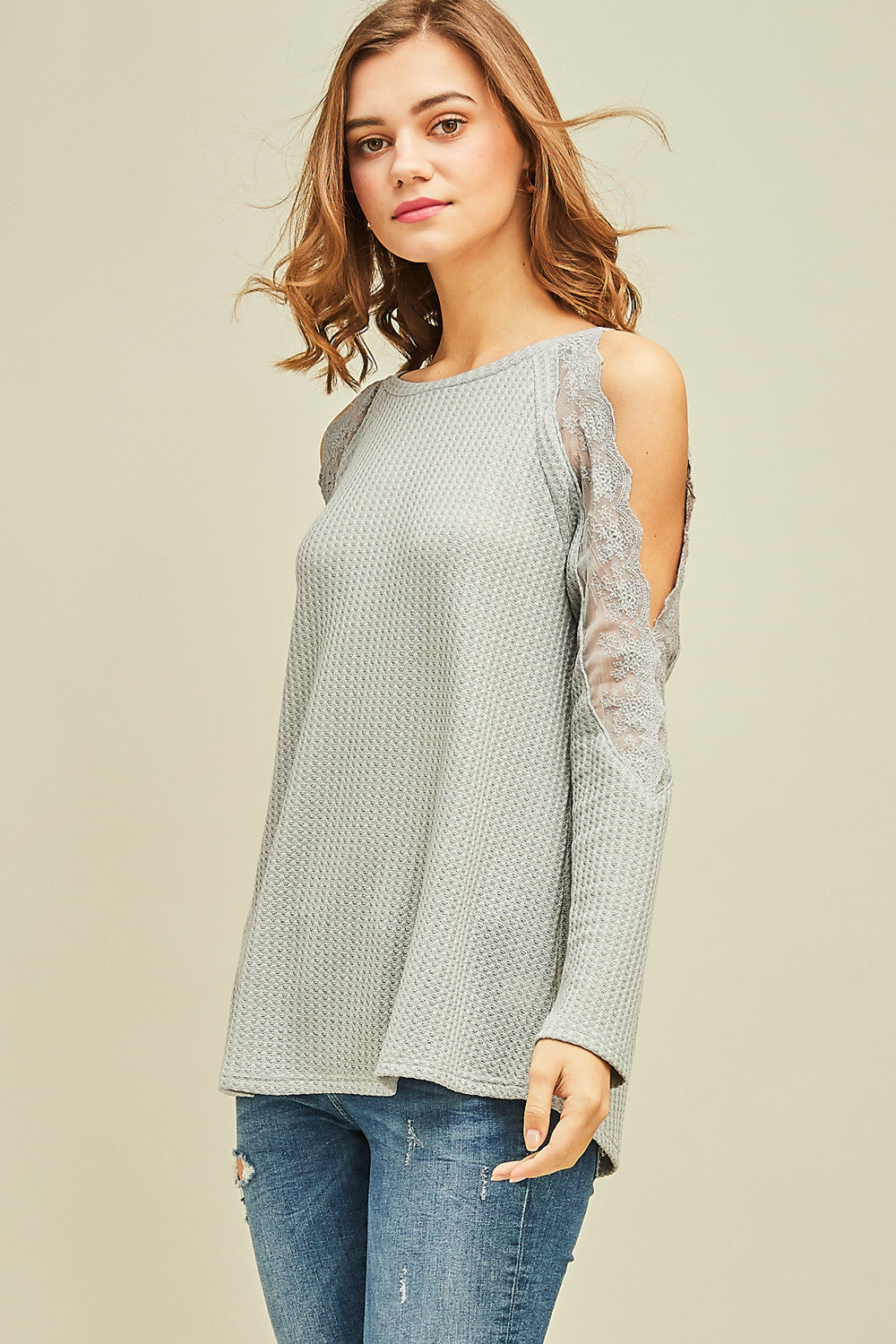 Waffle-Knit Cold-Shoulder Top with Lace Detail