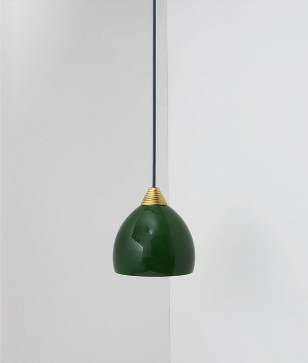 "Suspension ""Babel"", verrerie opaline verte, câble bleu de Prusse"