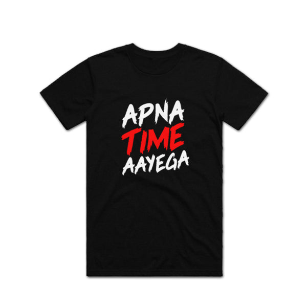 Apna Time Aayega Red Black T shirt