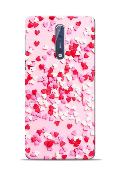 White Red Heart Nokia 5 Mobile Back Cover