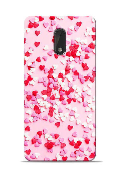 White Red Heart Nokia 6 Mobile Back Cover