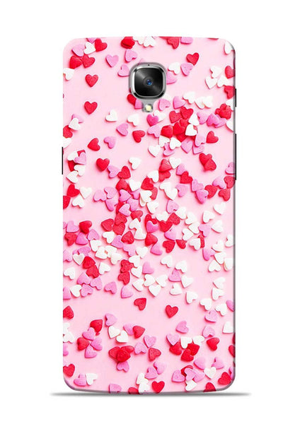 White Red Heart OnePlus 3T Mobile Back Cover