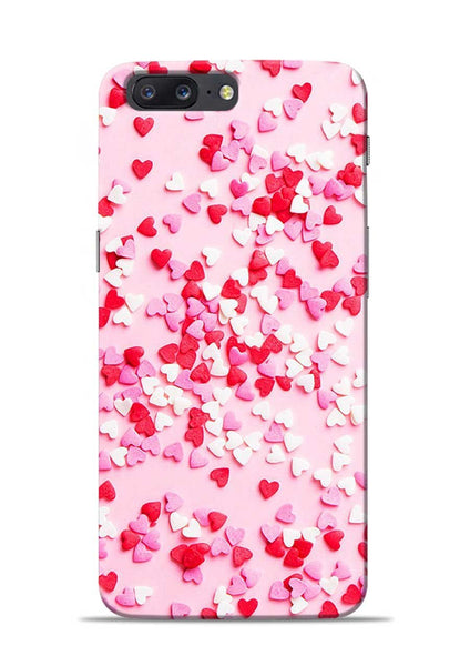 White Red Heart OnePlus 5 Mobile Back Cover