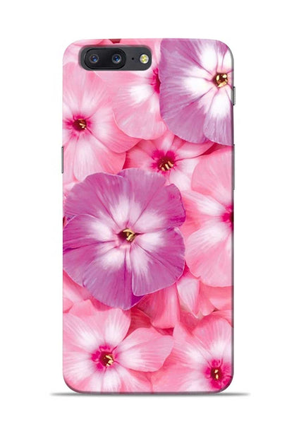 Purple Pink Flower OnePlus 5 Mobile Back Cover