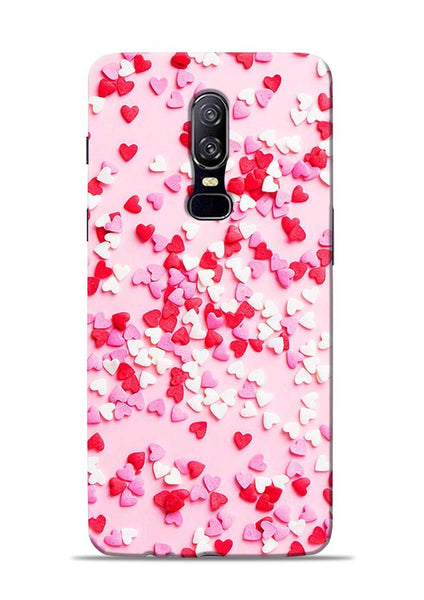 White Red Heart OnePlus 6 Mobile Back Cover