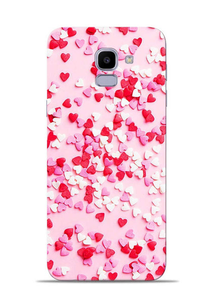 White Red Heart Samsung Galaxy J6 Mobile Back Cover