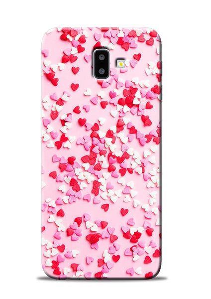 White Red Heart Samsung Galaxy J6 Plus Mobile Back Cover