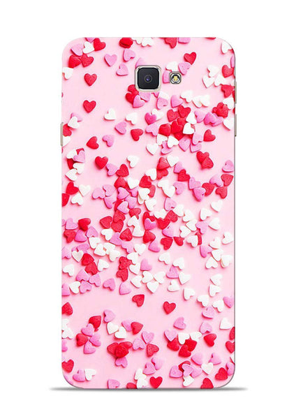 White Red Heart Samsung Galaxy J7 Prime Mobile Back Cover