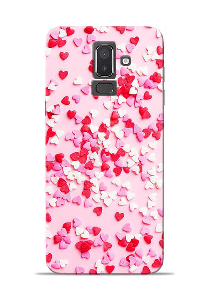 White Red Heart Samsung Galaxy J8 Mobile Back Cover