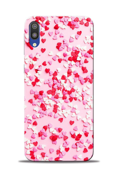 White Red Heart Samsung Galaxy M10 Mobile Back Cover