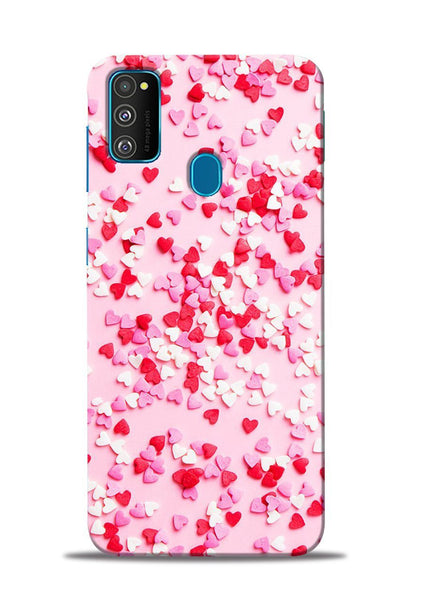 White Red Heart Samsung Galaxy M30s Mobile Back Cover