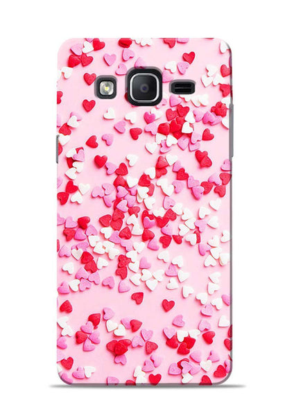 White Red Heart Samsung Galaxy On7 Mobile Back Cover