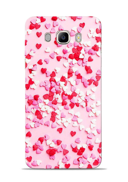 White Red Heart Samsung Galaxy On8 Mobile Back Cover