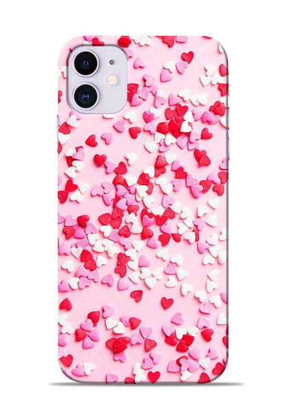 White Red Heart iPhone 11 Mobile Back Cover