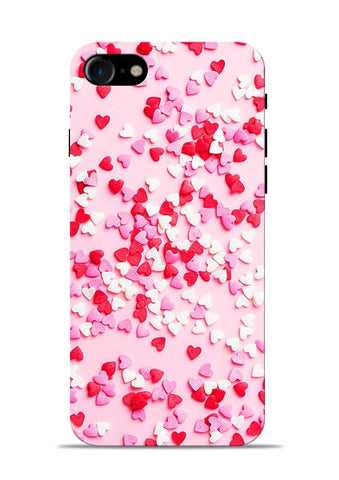 White Red Heart iPhone 8 Mobile Back Cover