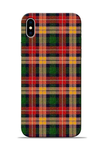 Green Checks iPhone XS Mobile Back Cover