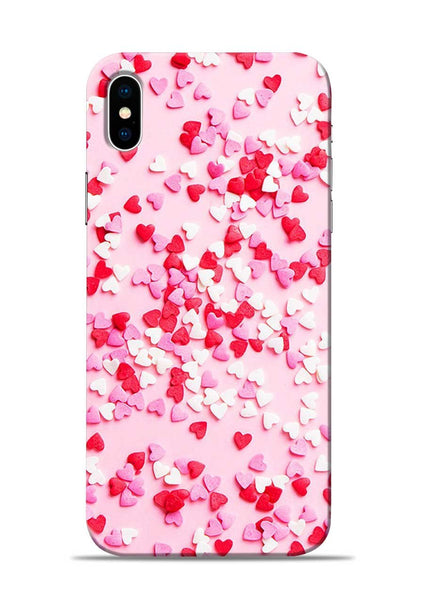White Red Heart iPhone XS Mobile Back Cover