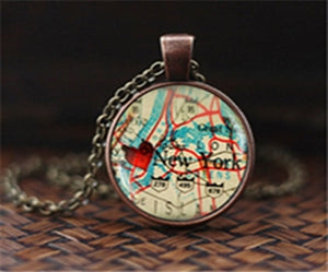 World Map Pendant Glass Chain