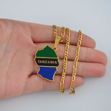 Load image into Gallery viewer, Tanzania Country Map Necklace