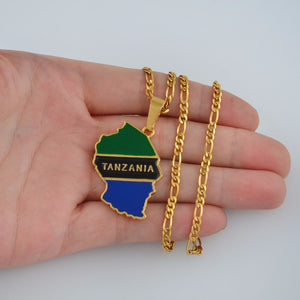 Tanzania Country Map Necklace